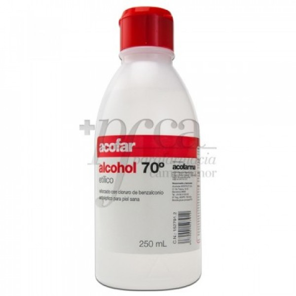 Alcohol etílico 70º ACOFAR antiséptico 250ml.